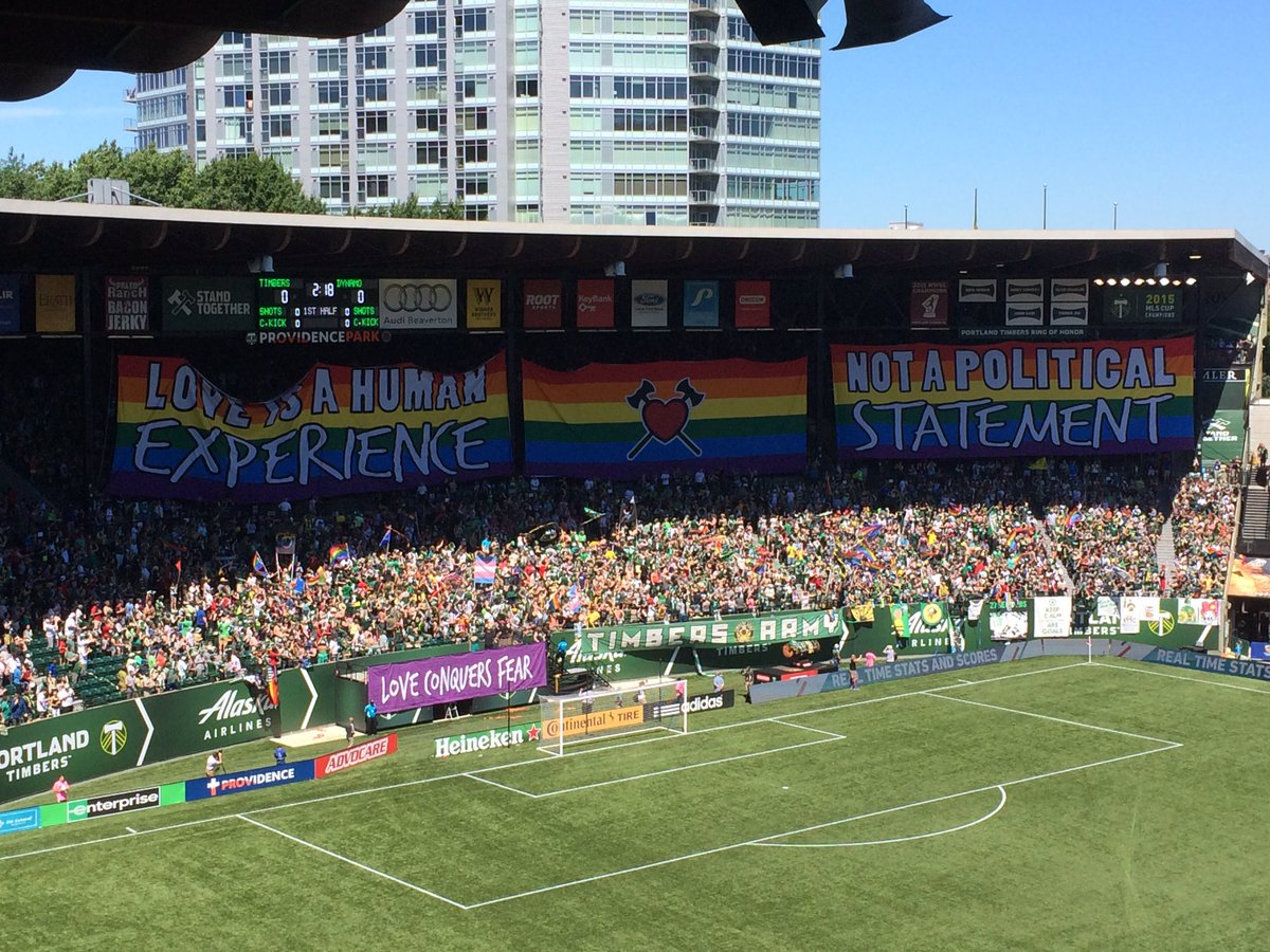 """Timbers Army tifo: """"Love is a human experience, not a political statement."""" #RCTID https://t.co/5Jk5Gbwm7y"""