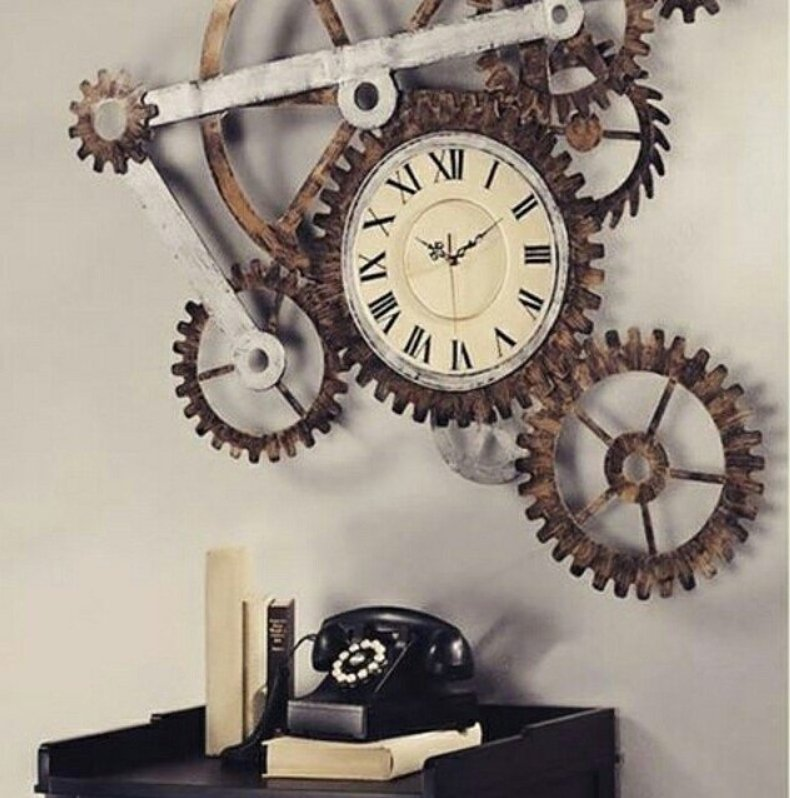 #Steampunk Awesome of the Day: Oversized Steel & Brass 'Gear Wall #Art with #Clock' via @steampunkjnkies #SamaDesign