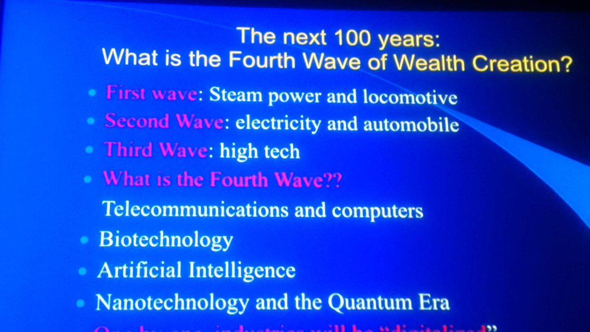 What is the 4th wave of wealth creation? @MichioKaku tells us in this slide at #iste2016 https://t.co/dVfa9JIwWA