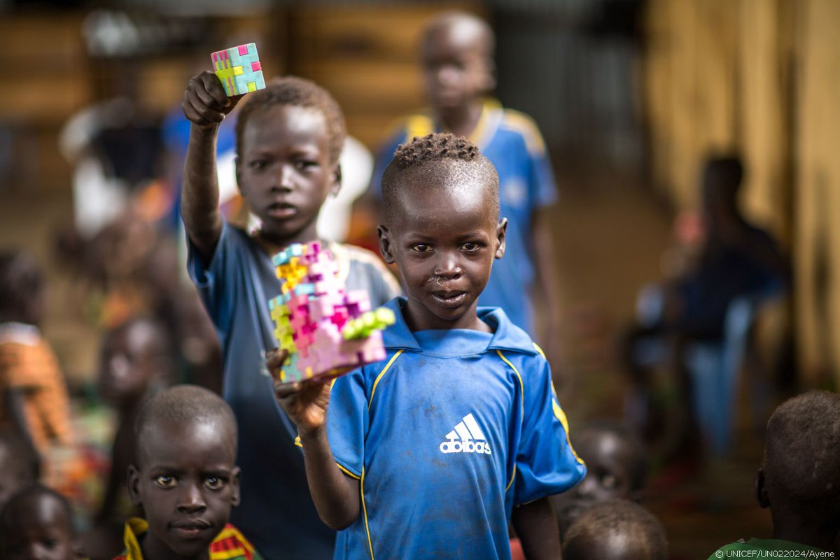 Play is crucial to overcoming trauma. Pictured, #SouthSudan refugee children at a child-friendly space in #Ethiopia