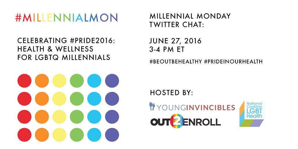 Join us & @YoungInvincible TODAY @ 3pm ET for a special #Pride2016 #MillennialMon w @Out2Enroll @HealthHIV  @CMSgov https://t.co/VZgkQ3YZ2m