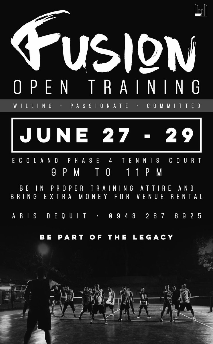 Due to unfavorable weather conditions, FUSION OPEN TRAINING WILL BE HELD AT HARANA PARKING SPACE, TORRES ST, 9PM https://t.co/nrzztolUoM