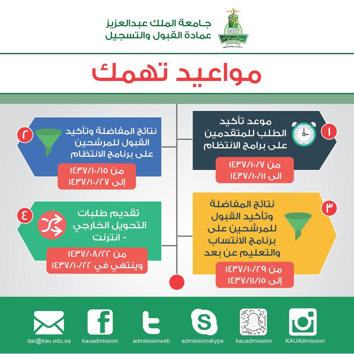 عمادة القبول والتسجيل Kau On Twitter جامعة الملك عبدالعزيز عمادة القبول والتسجيل مواعيد تهمك