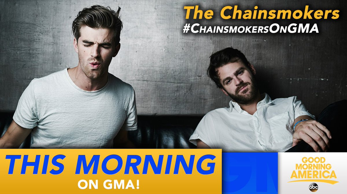 COMING UP: @TheChainsmokers  featuring @theofficialdaya perform LIVE in Times Square! #ChainSmokersOnGMA <br>http://pic.twitter.com/lekbzYV6UK