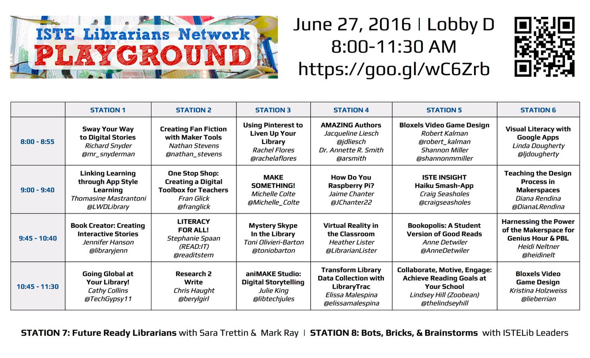 You won't BELIEVE the lineup! @ISTELib Playground 8-11:30AM Lobby D https://t.co/rFt8vZDksA #cantshushthis #ISTE2016 https://t.co/yt5ePijbOG