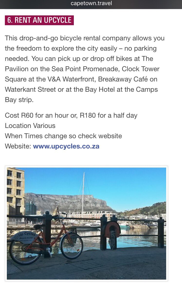 Thanks @lovecapetown for including us in this great list! https://t.co/LyOLDqTioi #Healthy #Affordable #CapeTown 💚🚲