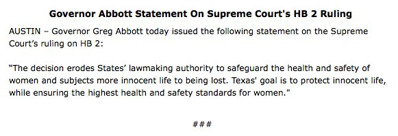 .@GovAbbott on @WholeWomans decision #txlege https://t.co/wOg0MQ6uSl