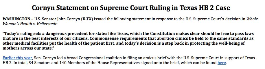 .@johncornyn on @wholewoman decision #txlege https://t.co/PxDeAtYa1q