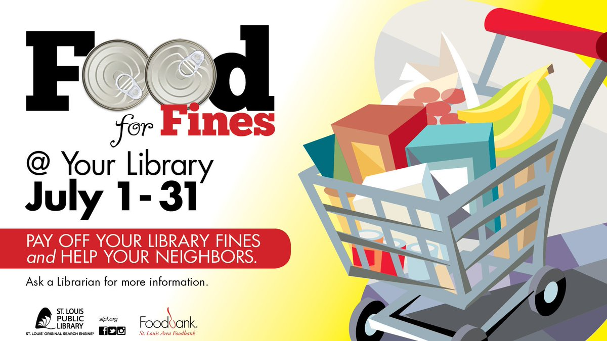 Do you have fines? During the month of July, Food for Fines can help you pay off those fees and help those in need. https://t.co/NCpZELhzz5