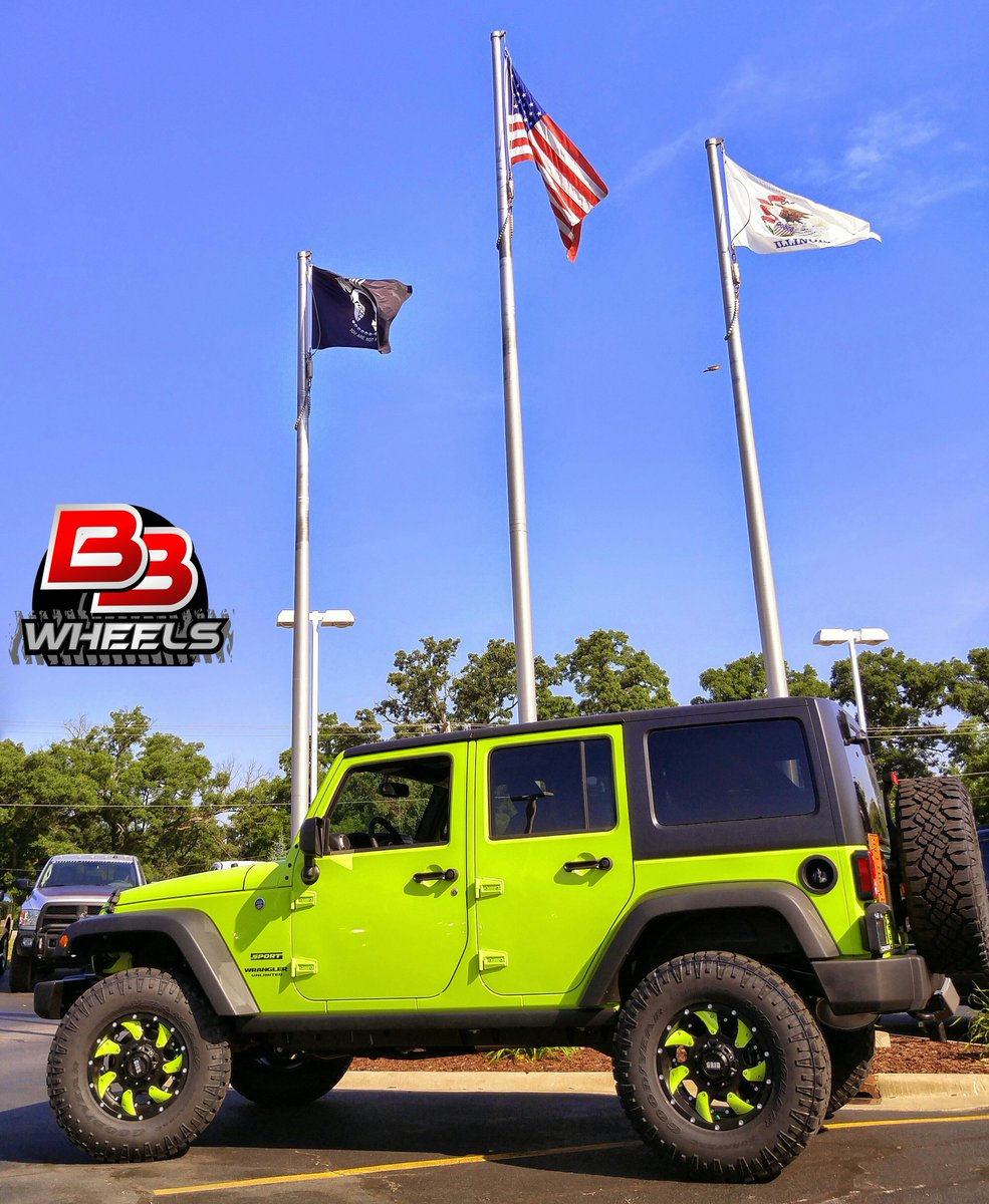 bb wheels on twitter 17x9 grid gd1 wheels on a jeep wrangler custom painted lime green. Black Bedroom Furniture Sets. Home Design Ideas