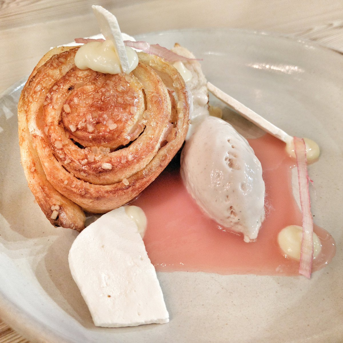 Rhubarb Cinnamon buns at Thoroughbred Food and Drink in Toronto, Ontario