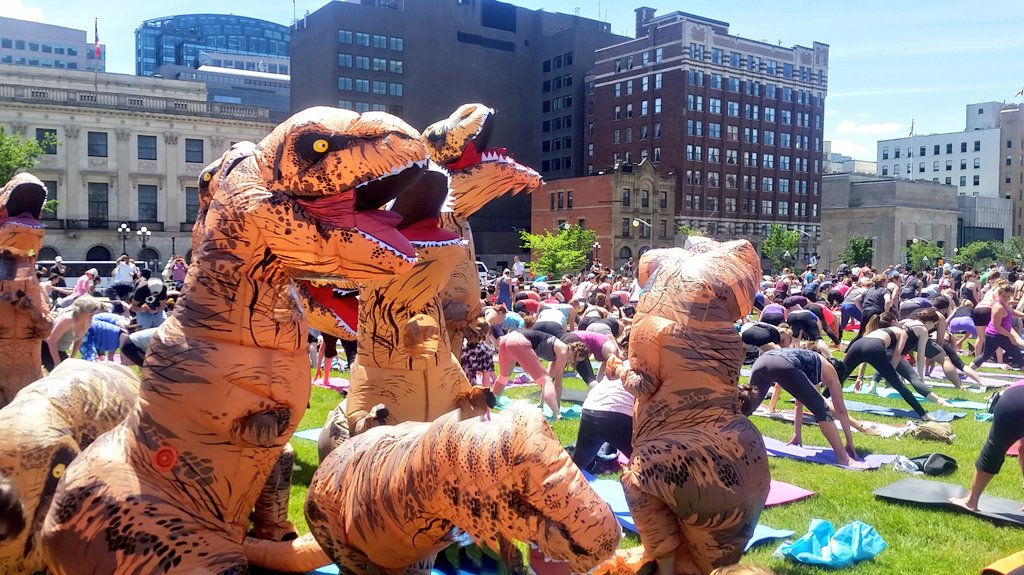 Calling this one the downward facing dino pose #UltimateDinos @Canada for yoga on the Hill today https://t.co/aCZCuxKaPq