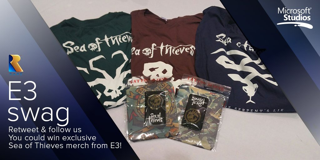 Win an E3 exclusive #SeaOfThieves t-shirt, tattoo sleeve & pin badge! Follow & RT to enter. Winners drawn in 24 hrs. https://t.co/mk0fO0HEtL