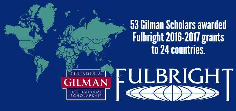 Thumbnail for Congratulations to #GilmanScholars on #Fulbright Selection!