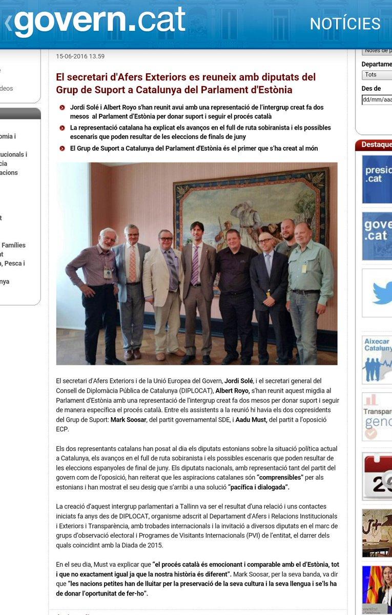 El secretari d'Afers Exteriors es reuneix amb diputats del Grup de Suport a Catalunya del Parlament d'Estònia
