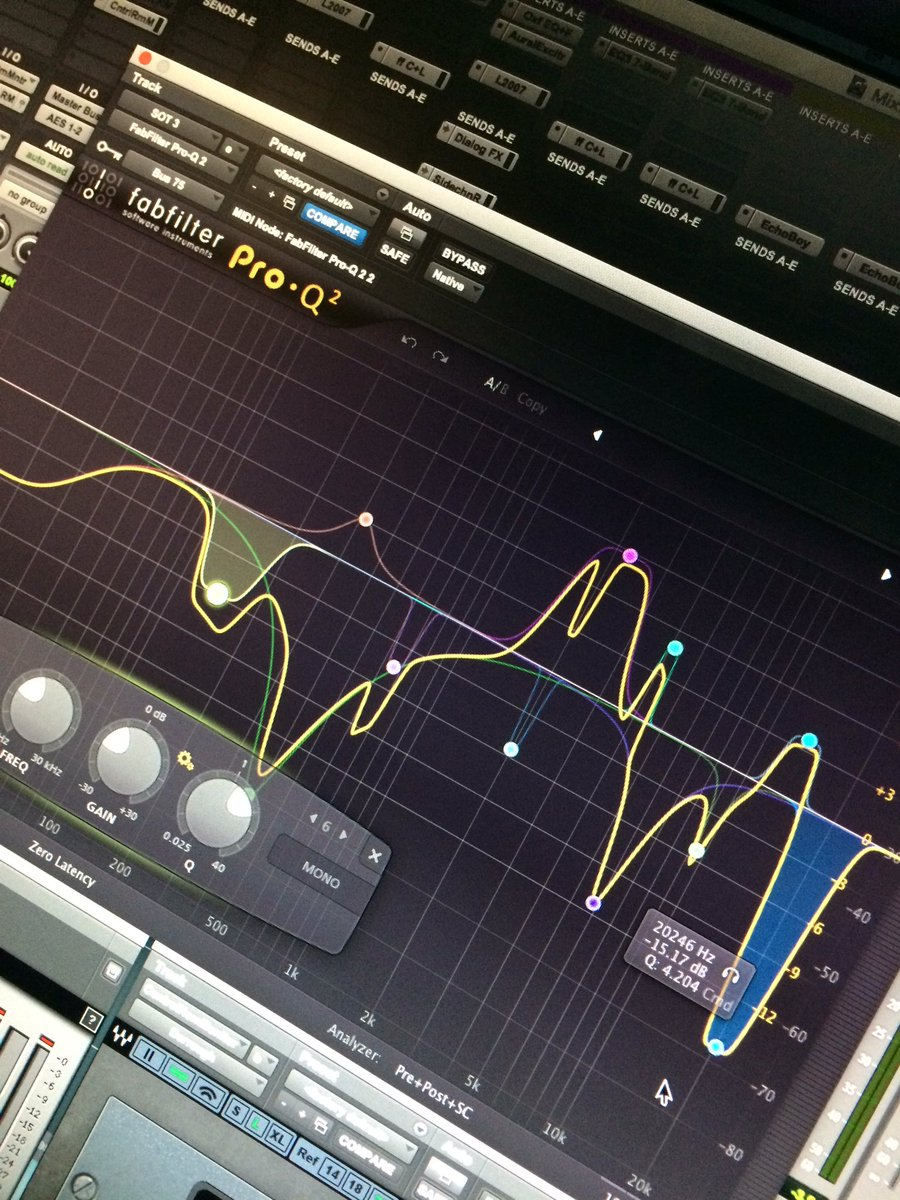 "Used ""eq match"" on different clips of dialogue w/ @fabfilter Pro-Q, and no one else the wiser! #wickedcurves"