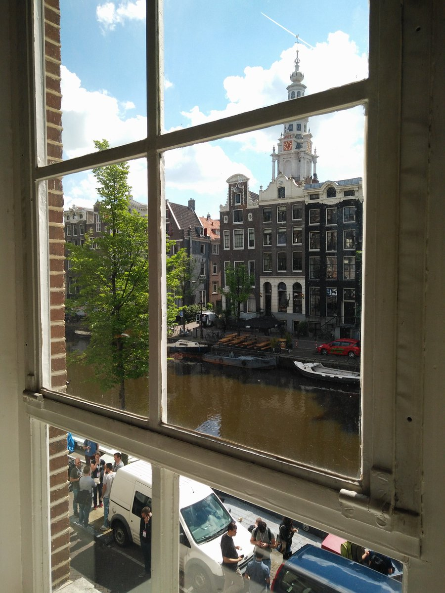 The event takes place at Compagnietheater. Through a top-floor window, you look directly at beautiful houses and one of Amsterdam's many canals.