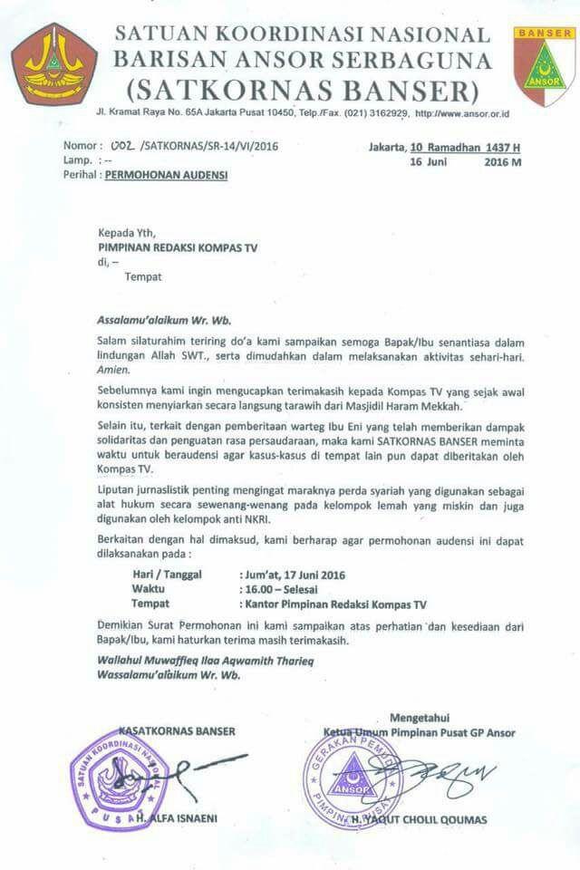 Mohamad Guntur Romli On Twitter Surat Audiensi Banser