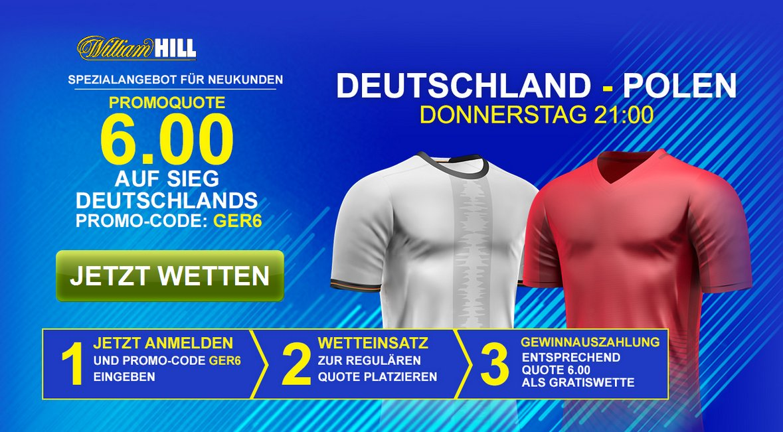 William Hill: Deutschland gewinnt x 6,00