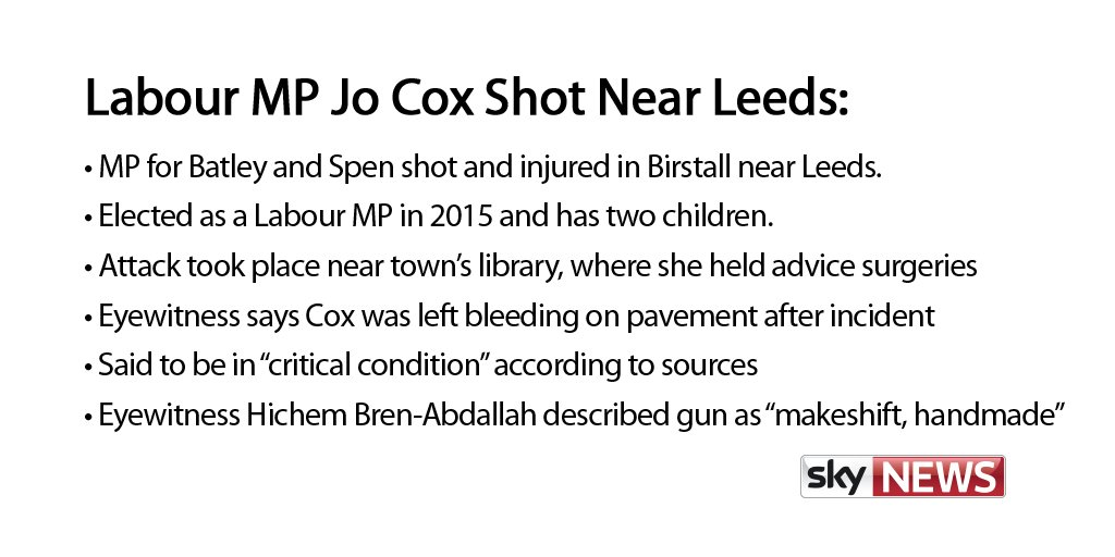 Jo Cox MP killed in West Yorkshire - how the day unfolded