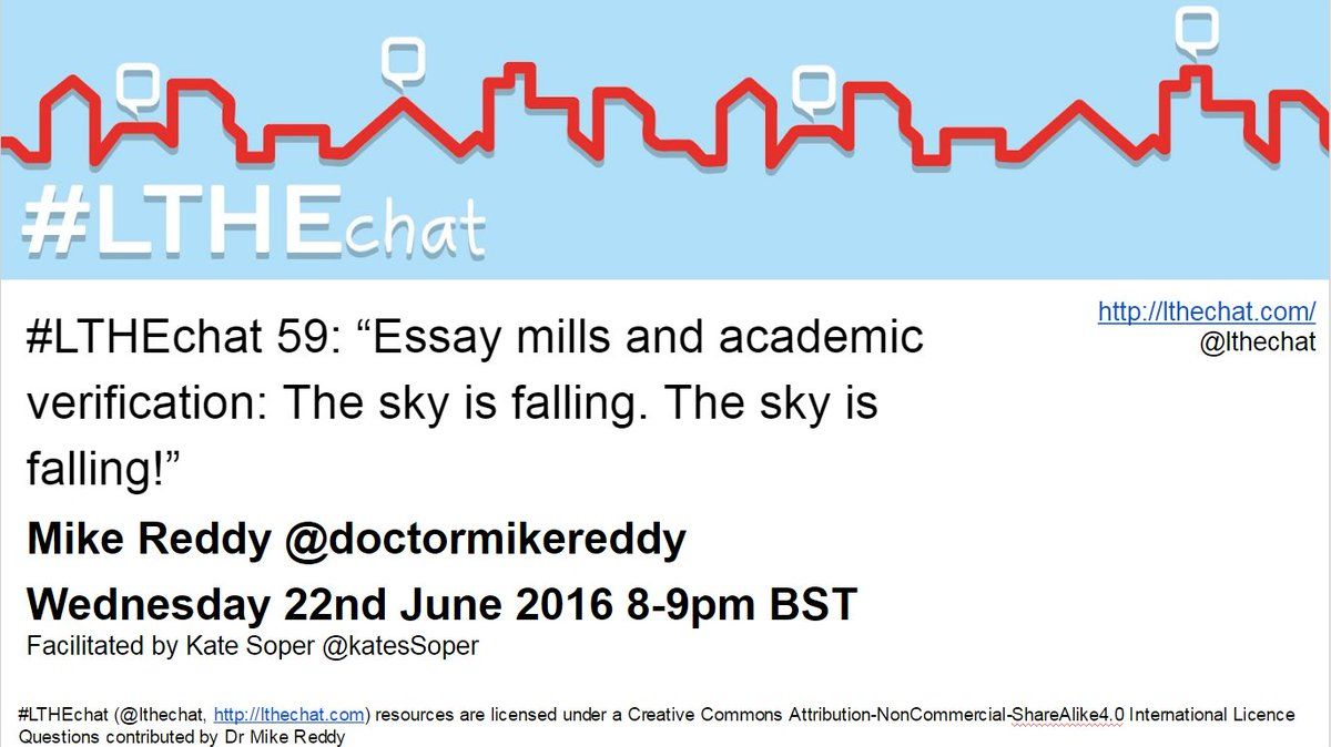 Join @DoctorMikeReddy on #LTHEChat next week to discuss Essay mills and Academic Verification, Wed 22nd 8-9pm BST https://t.co/MMbsHS6lxu