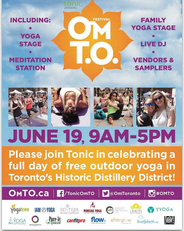 EVENT - @OmToronto Returns to Distillery District on June 19th 9am-5pm. Full Day of Free Outdoor Yoga @Distillery_TO https://t.co/lbeocsm3Yu