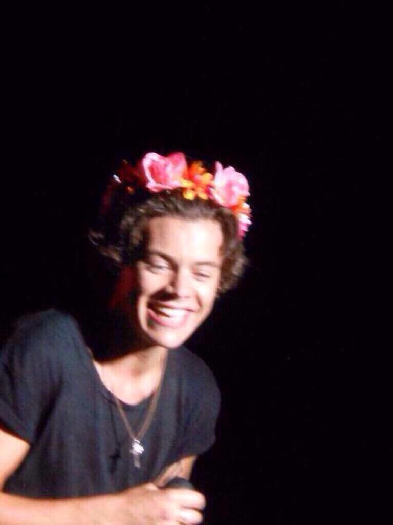 Harry Styles Flower Crown On Stage