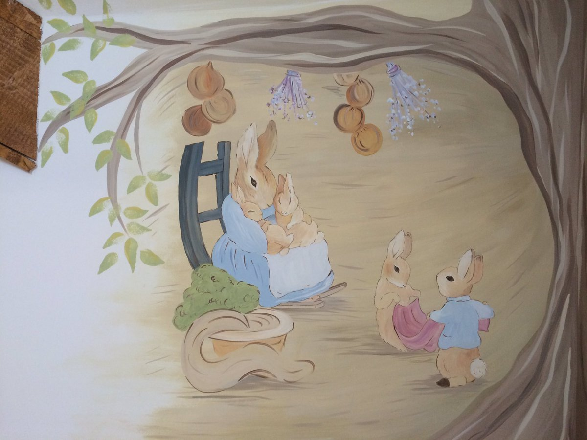 Peter Rabbit Hand Painted Wall Mural  #nurserymuralspic.twitter.com/JBq6ltHhR4 Part 75