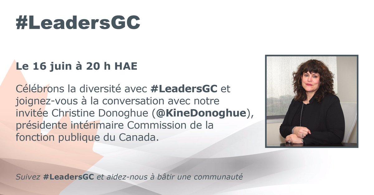 Joignez #LeadersGC et @KineDonoghue  ce soir à 20h HNE pour discuter la Diversité. https://t.co/RPh2VQ0sus