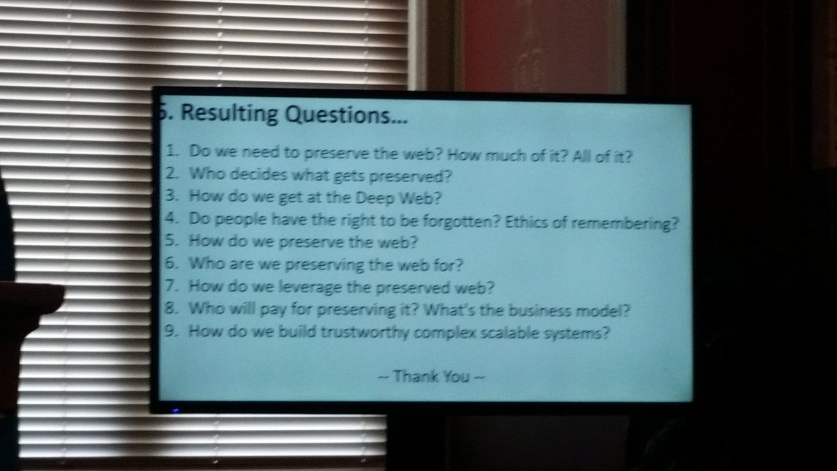 Thought-provoking questions posed by @MarcianoRichard at #savetheweb #hackarchives https://t.co/ZTMEAHtwJt