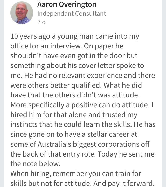 Dear HRD yang selalu nyari karyawan berpengalaman min. 5 tahun dan pendidikan min. S1. https://t.co/hfm4qFKmVY