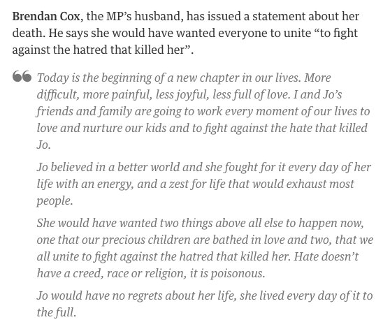Jo Cox's husband Brendan: 'Jo believed in a better world and fought for it every day' https://t.co/5tHajOYYh3 https://t.co/KRBB7h5YlJ