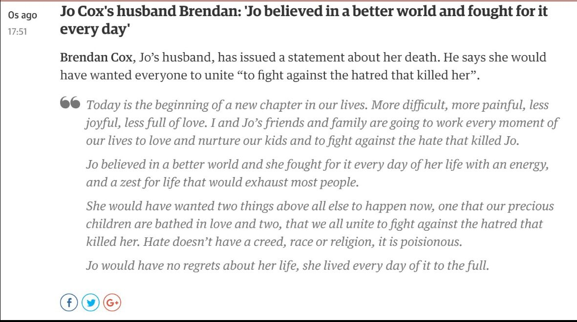 Just unspeakably sad - Brendan Cox statement about the death of his wife Jo. A message the haters need to hear https://t.co/Lg9dtWtimV