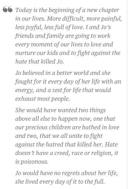 Jo would have no regrets about her life, she lived every day of it to the full @MrBrendanCox #JoCox https://t.co/C6S77aqNHF