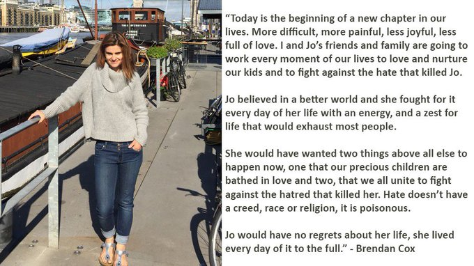 Brendan Cox released this moving tribute to his wife Jo Cox, who died this afternoon