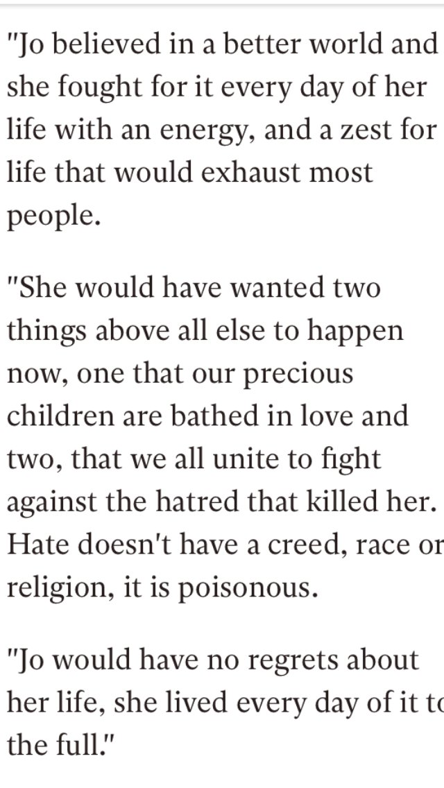 Powerful words from Jo Cox husband. We stand with you in fighting hate RIP you brilliant Yorkshire Lass. https://t.co/ugitvANgZu