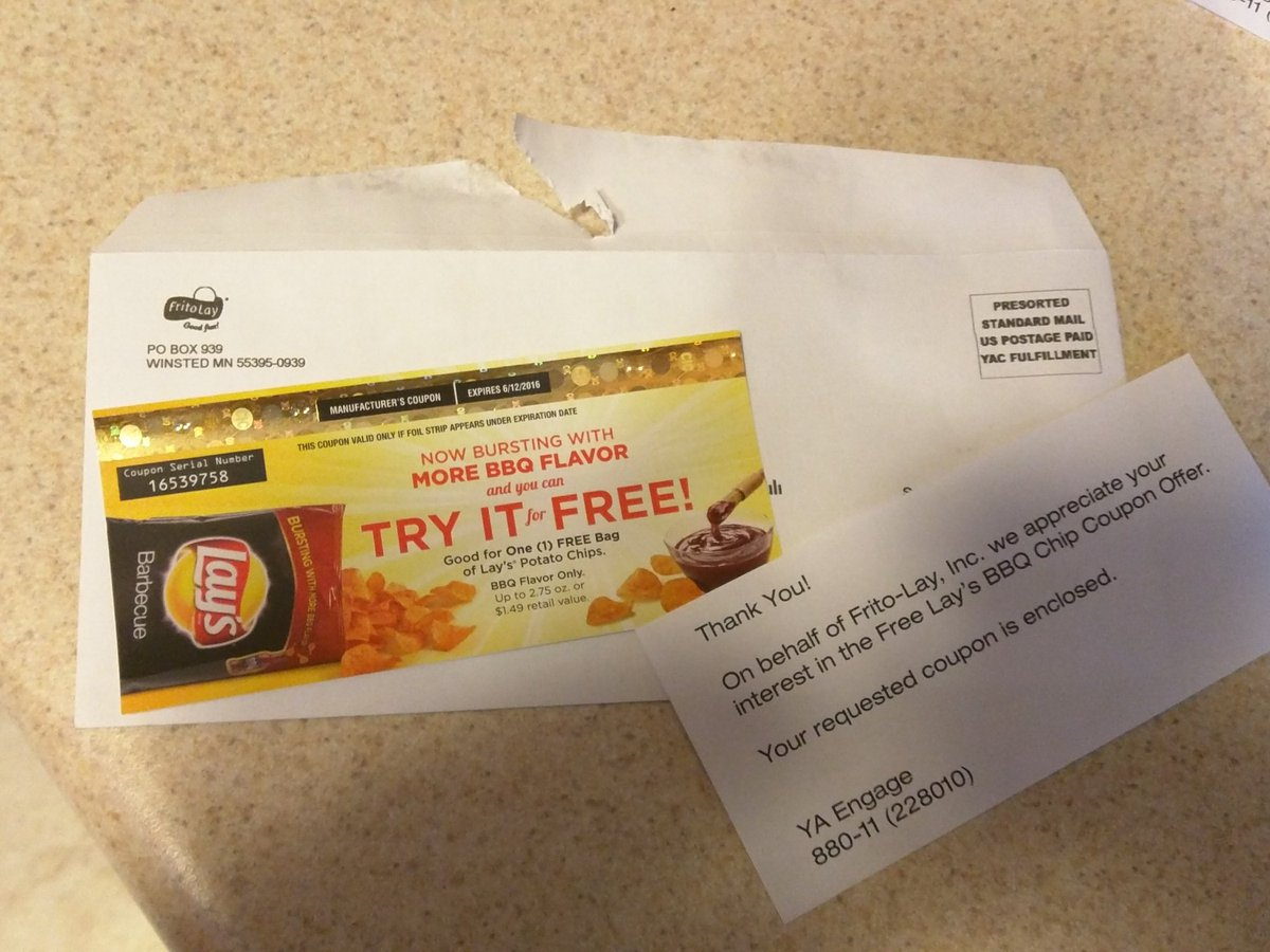 Frito Lay On Twitter We Re Sorry For The Issues You Are Experiencing With Our Lay S Bbq Coupons We Ll Be Sending A New One Within A Few Weeks Thanks