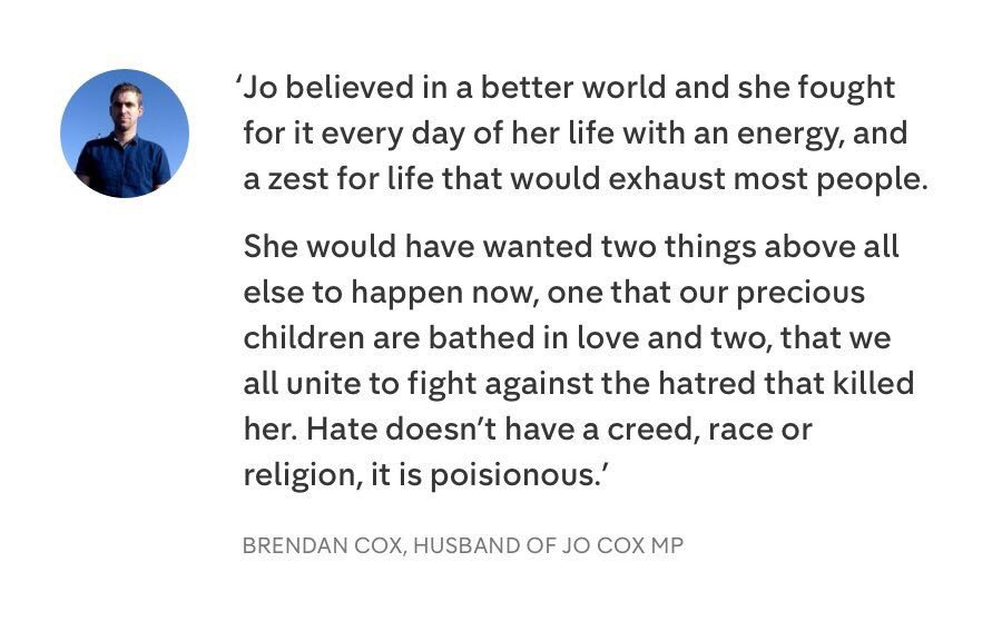 Incredibly strong statement from the husband of Jo Cox https://t.co/7JMzHtht2E