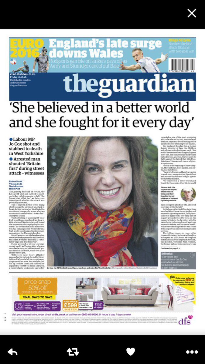 The Guardian and The Telegraph united in their choice of headline. https://t.co/FdbBgPKLba