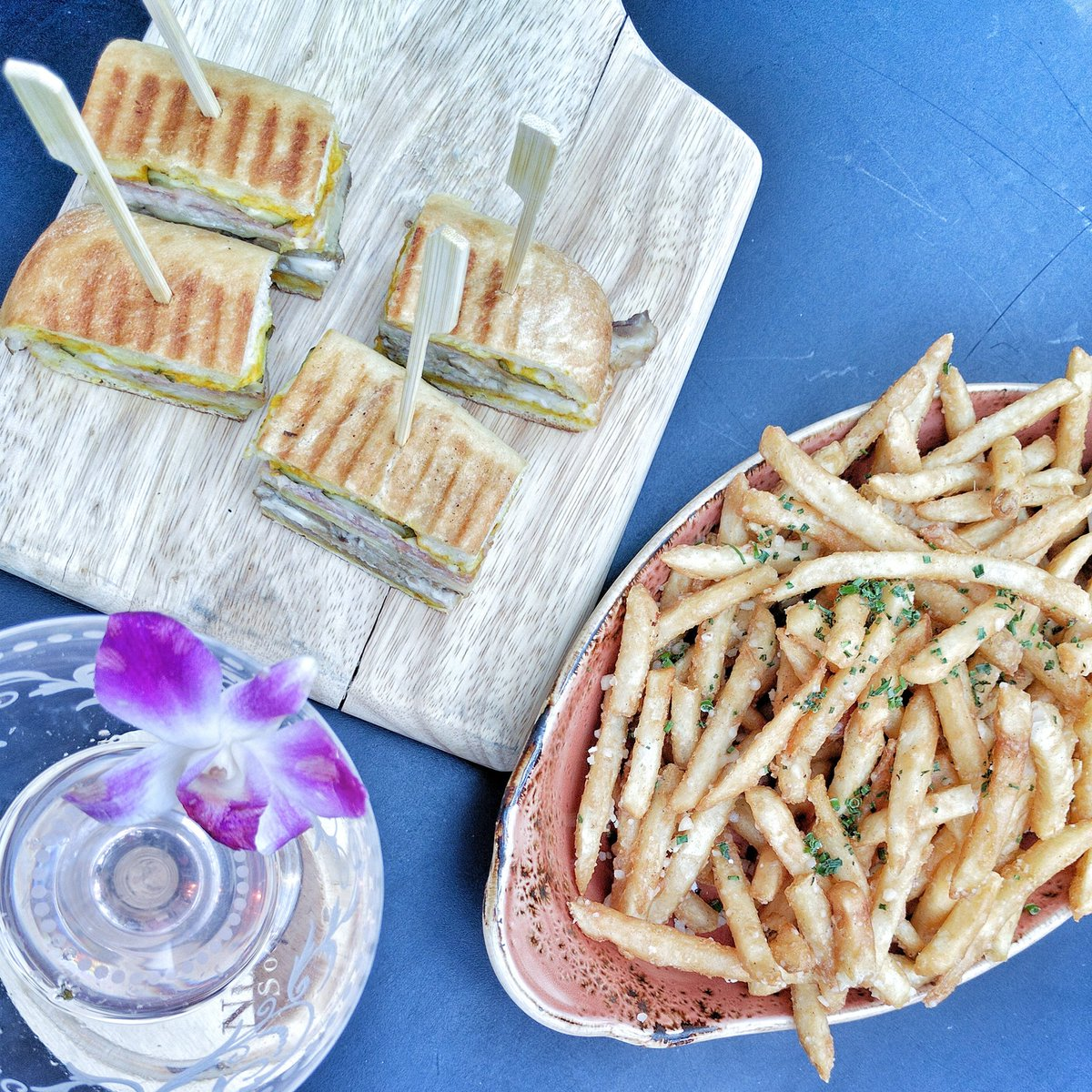 Sandwich Cubano, Truffle Fries and Chan Chan Cocktail at DEQ Terrace and Lounge