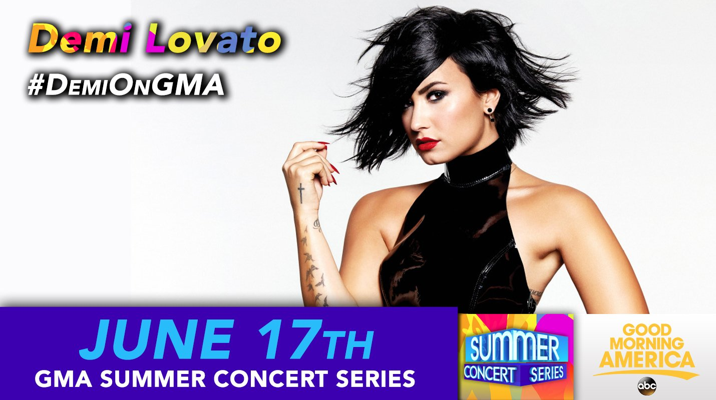 So ready to perform on the @GMA Summer Concert Series tomorrow morning. Tune in to ABC 830am ET! #DemiOnGMA https://t.co/iwSHkMqeoO