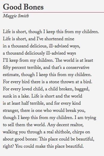 """Damn: """"Good Bones"""", by @maggiesmithpoet — https://t.co/jEMLYytbXh (via @emilynussbaum ) https://t.co/kTaG3ITDJG"""