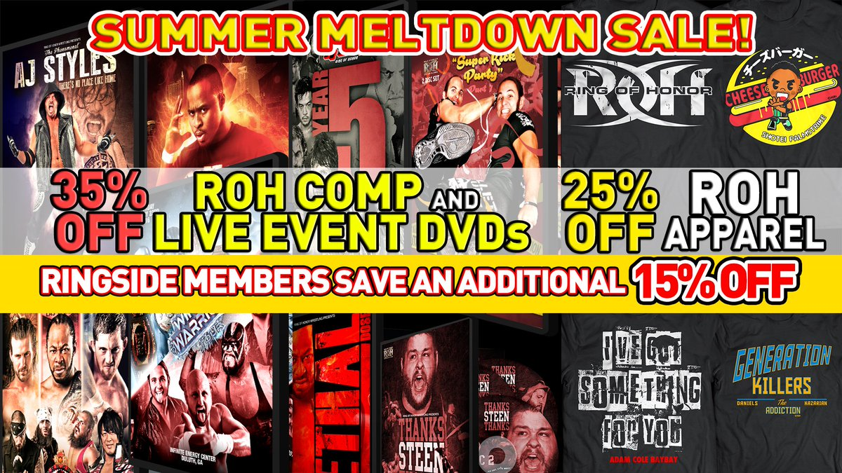 35% Off DVDs & 25% Off Apparel with ROH's SUMMER MELTDOWN SALE!