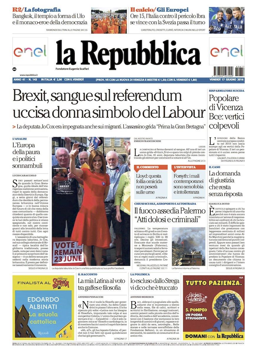La Repubblica It Nel 2019: Repubblica: Brexit, Sangue Sul Referendum