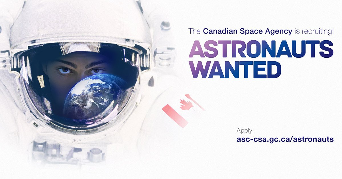 Astronauts wanted! The CSA is recruiting the next space explorers: https://t.co/Nm8RcCwLUG. #bethenextCDNastro https://t.co/hXtxJDwyqF