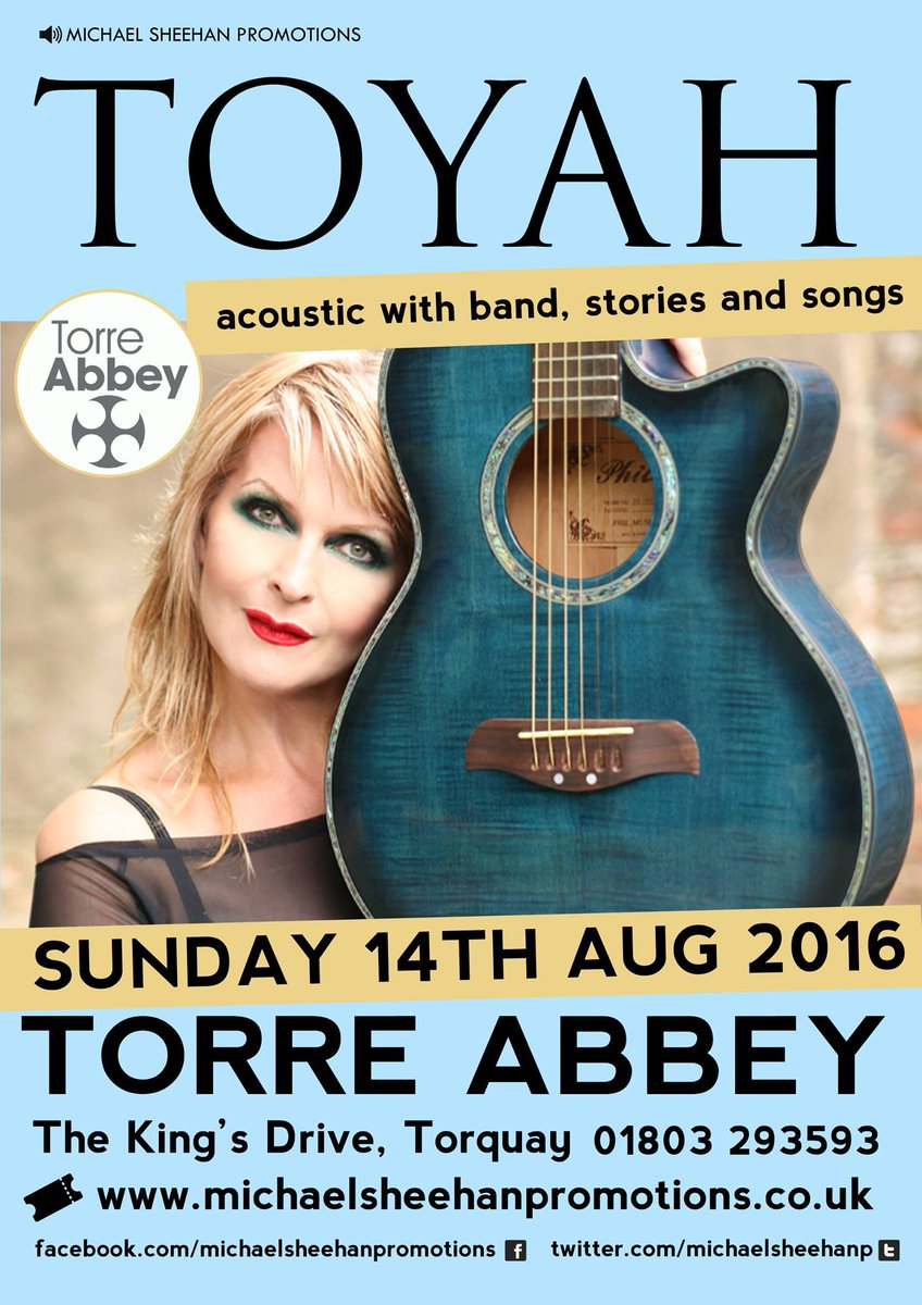 @toyahofficial comes to @TorreAbbey Sunday 14 August #toyah #toyahwillcox #livemusic #Torquay #BoostTorbay https://t.co/dturKPO8w2