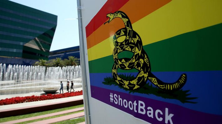"Rainbow signs appearing in West Hollywood advise to ""#shoot back."" https://t.co/pNDwJJ4oyb https://t.co/gGt5GiFhEn"