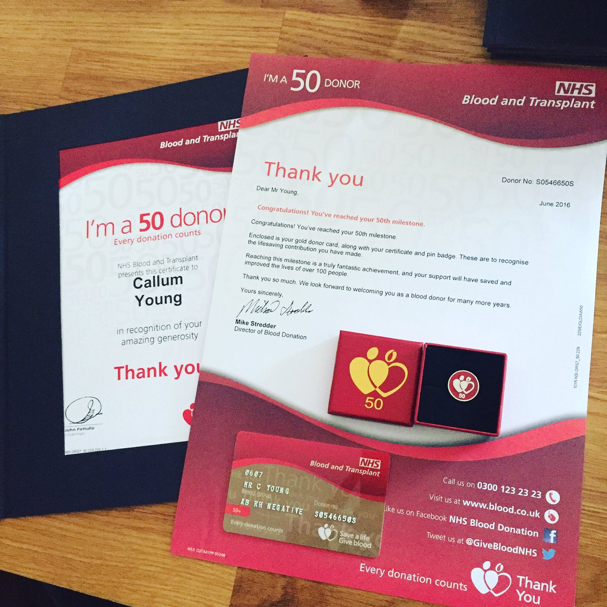 NHS 50 th blood donations