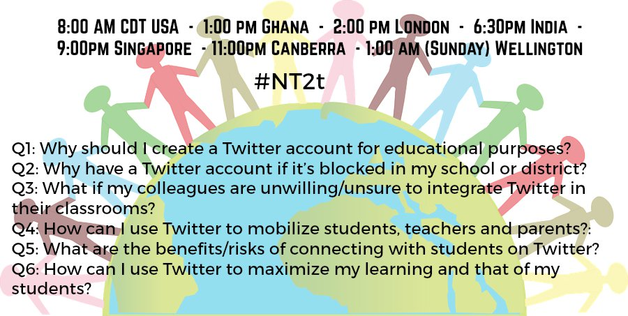 Hot off the press!Here are questions for #NT2t on 6/18 w/ guest mod & friend @Stanton_Lit Global times on pic-plz RT https://t.co/Y3cIRPpUaG