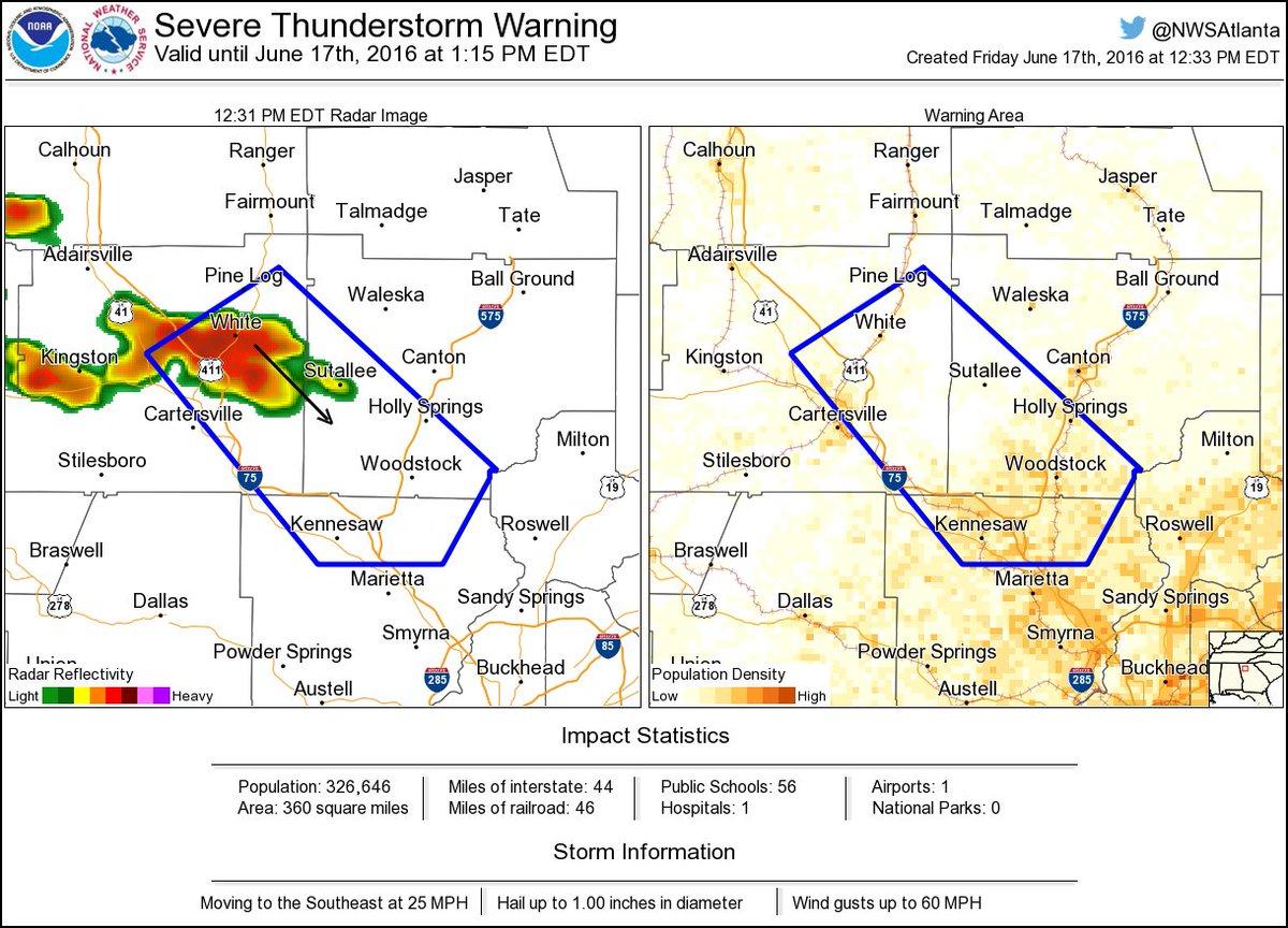Nws Atlanta On Twitter Severe Thunderstorm Warning Including